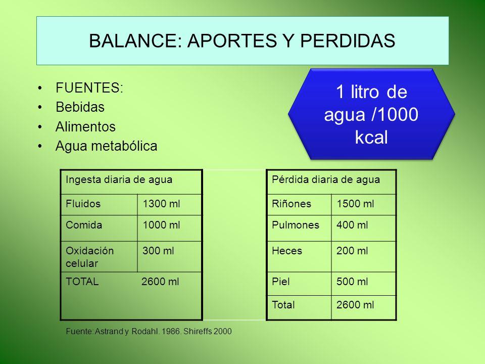 BALANCE: APORTES Y PERDIDAS FUENTES: Bebidas Alimentos Agua metabólica Ingesta diaria de aguaPérdida diaria de agua Fluidos1300 mlRiñones1500 ml Comid