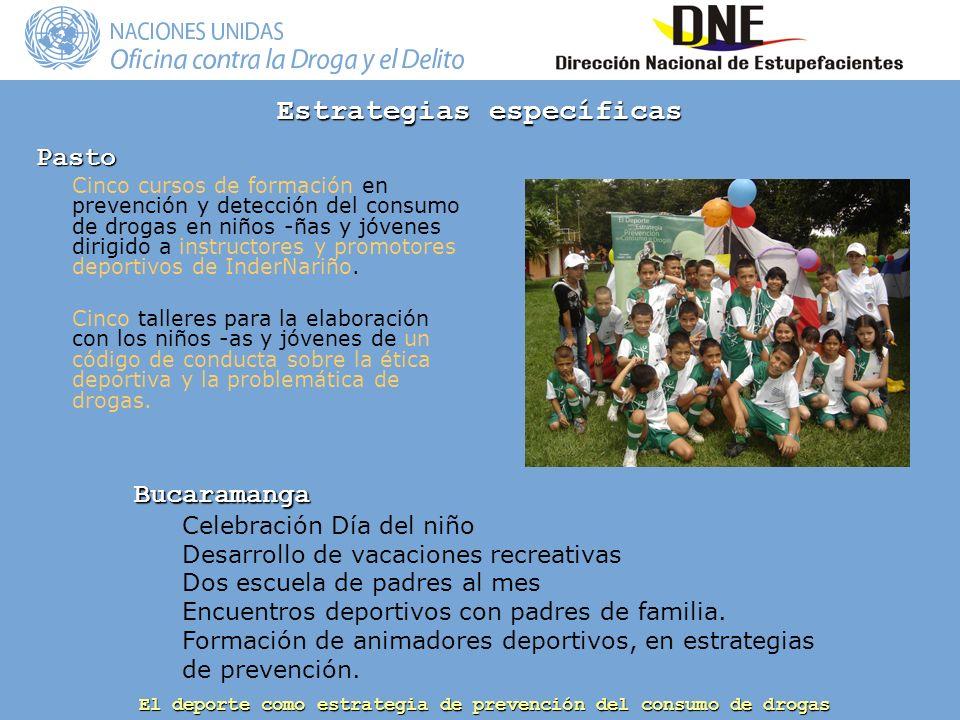 El deporte como estrategia de prevención del consumo de drogas Pasto Cinco cursos de formación en prevención y detección del consumo de drogas en niños -ñas y jóvenes dirigido a instructores y promotores deportivos de InderNariño.