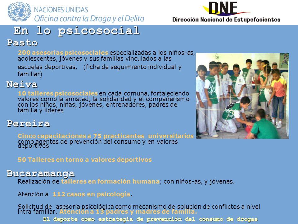 El deporte como estrategia de prevención del consumo de drogas En lo psicosocial Bucaramanga Realización de talleres en formación humana; con niños-as, y jóvenes.