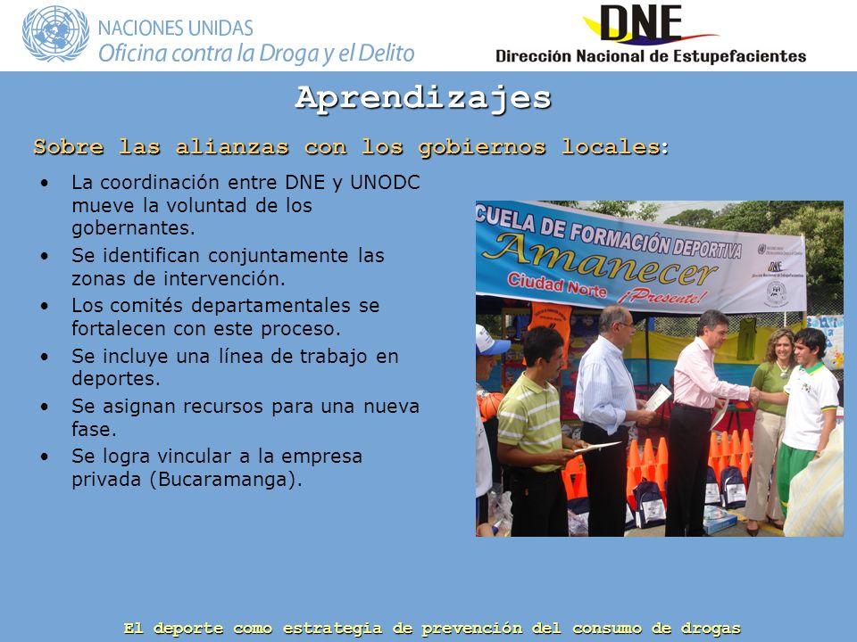 El deporte como estrategia de prevención del consumo de drogas La coordinación entre DNE y UNODC mueve la voluntad de los gobernantes.
