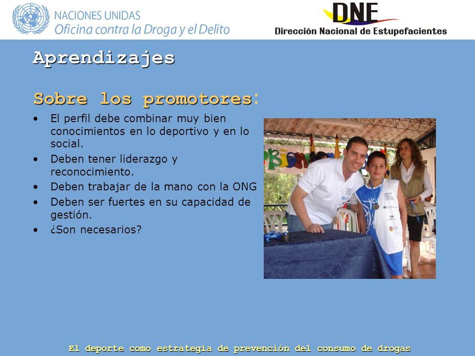El deporte como estrategia de prevención del consumo de drogas Sobre los promotores Sobre los promotores : El perfil debe combinar muy bien conocimientos en lo deportivo y en lo social.