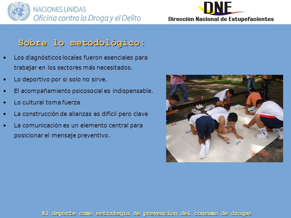 El deporte como estrategia de prevención del consumo de drogas Sobre lo metodológico: Los diagnósticos locales fueron esenciales para trabajar en los sectores más necesitados.