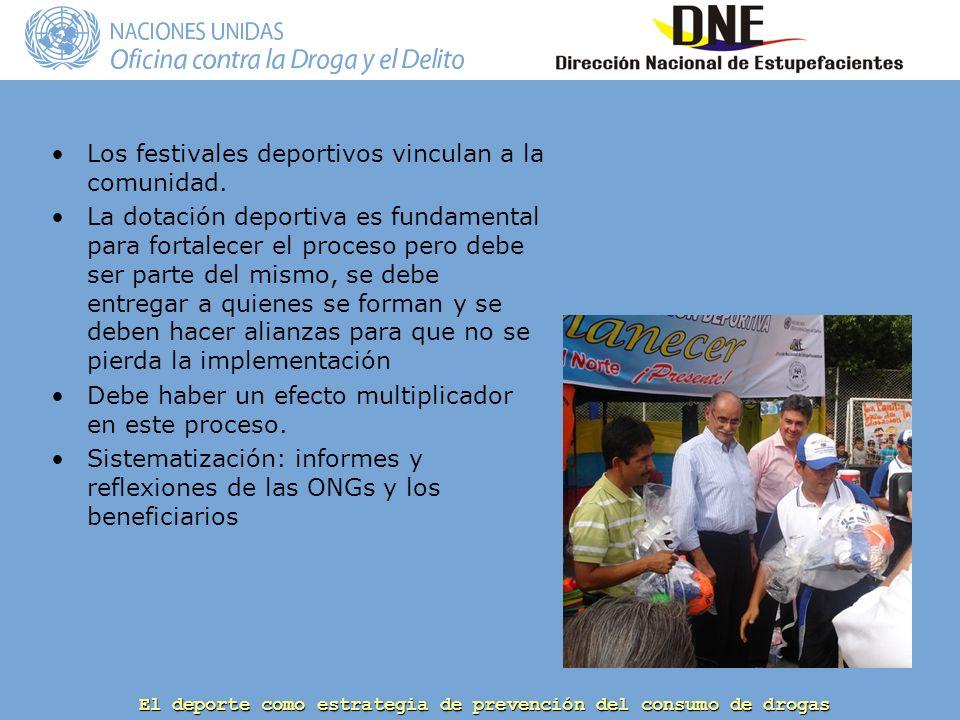 El deporte como estrategia de prevención del consumo de drogas Los festivales deportivos vinculan a la comunidad.