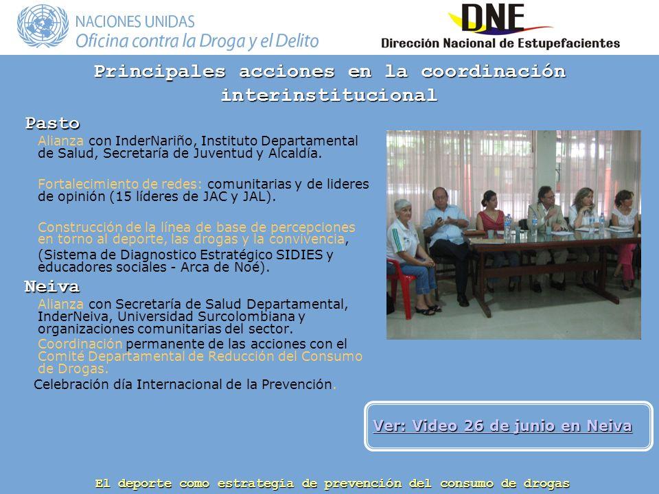 El deporte como estrategia de prevención del consumo de drogas Principales acciones en la coordinación interinstitucional Pasto Alianza con InderNariño, Instituto Departamental de Salud, Secretaría de Juventud y Alcaldía.