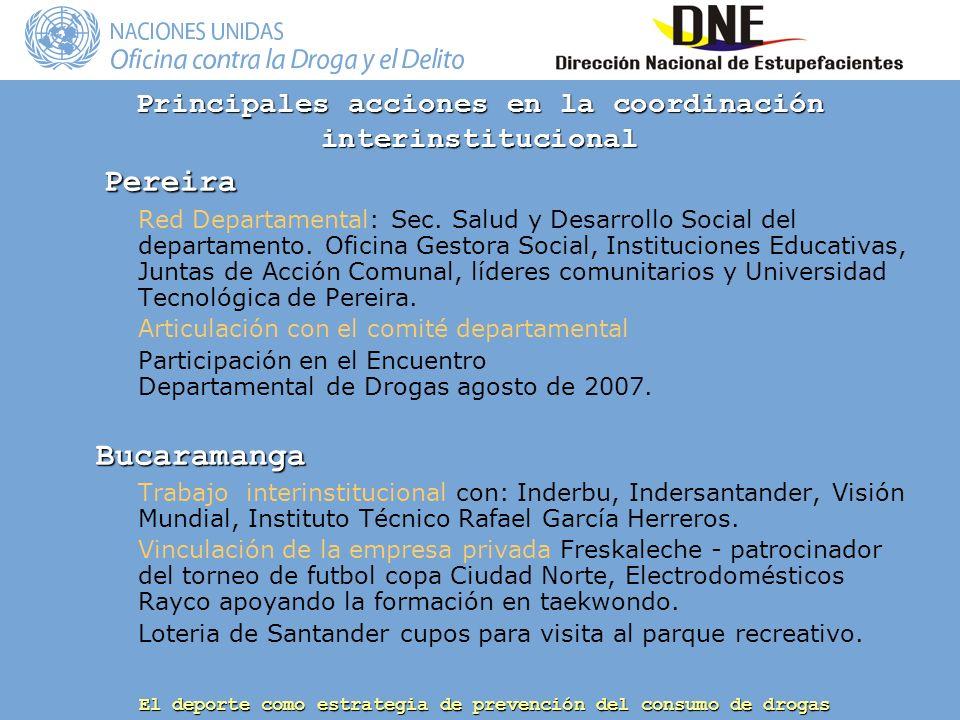 El deporte como estrategia de prevención del consumo de drogas Principales acciones en la coordinación interinstitucional Pereira Pereira Red Departamental: Sec.