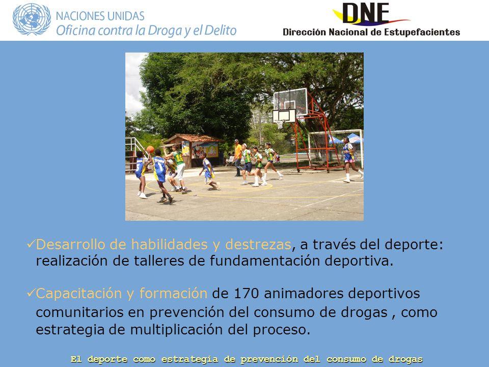 El deporte como estrategia de prevención del consumo de drogas Desarrollo de habilidades y destrezas, a través del deporte: realización de talleres de fundamentación deportiva.