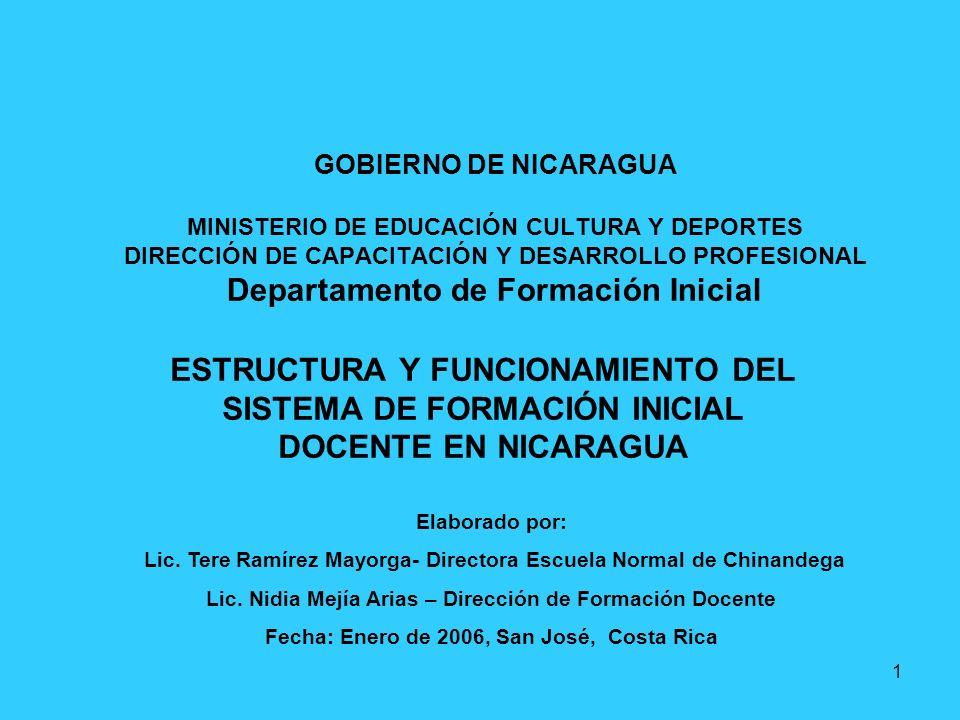 1 GOBIERNO DE NICARAGUA MINISTERIO DE EDUCACIÓN CULTURA Y DEPORTES DIRECCIÓN DE CAPACITACIÓN Y DESARROLLO PROFESIONAL Departamento de Formación Inicia