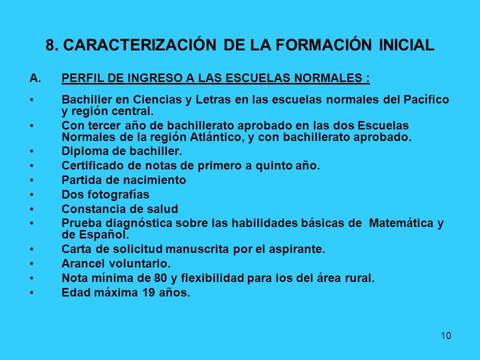 10 8. CARACTERIZACIÓN DE LA FORMACIÓN INICIAL A.PERFIL DE INGRESO A LAS ESCUELAS NORMALES : Bachiller en Ciencias y Letras en las escuelas normales de