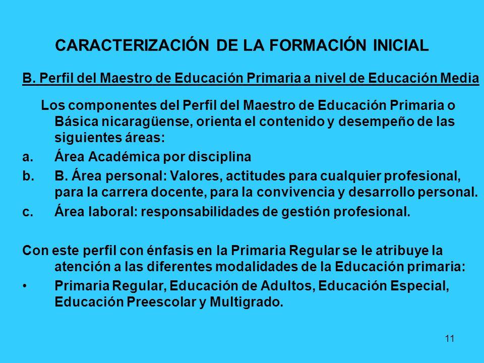 11 CARACTERIZACIÓN DE LA FORMACIÓN INICIAL B. Perfil del Maestro de Educación Primaria a nivel de Educación Media Los componentes del Perfil del Maest