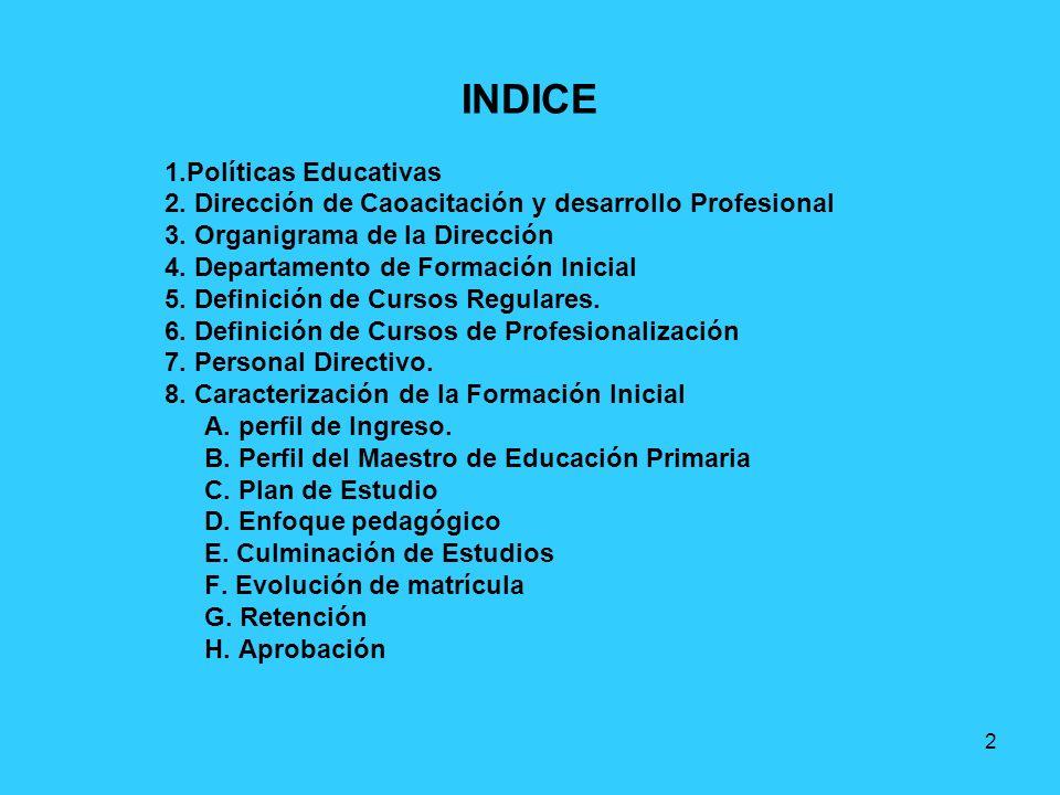 2 INDICE 1.Políticas Educativas 2. Dirección de Caoacitación y desarrollo Profesional 3. Organigrama de la Dirección 4. Departamento de Formación Inic