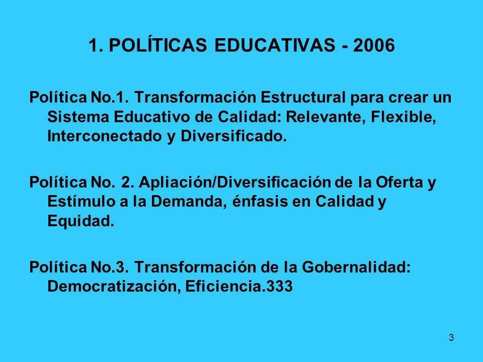 3 1. POLÍTICAS EDUCATIVAS - 2006 Política No.1. Transformación Estructural para crear un Sistema Educativo de Calidad: Relevante, Flexible, Interconec