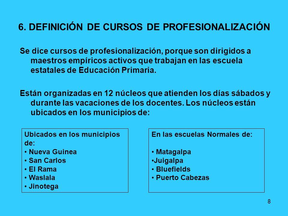8 6. DEFINICIÓN DE CURSOS DE PROFESIONALIZACIÓN Se dice cursos de profesionalización, porque son dirigidos a maestros empíricos activos que trabajan e