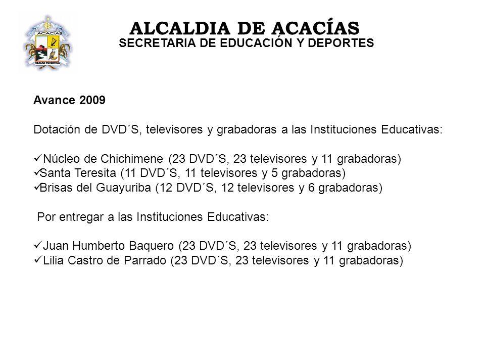 ALCALDIA DE ACACÍAS SECRETARIA DE EDUCACIÓN Y DEPORTES Avance 2009 Dotación de DVD´S, televisores y grabadoras a las Instituciones Educativas: Núcleo de Chichimene (23 DVD´S, 23 televisores y 11 grabadoras) Santa Teresita (11 DVD´S, 11 televisores y 5 grabadoras) Brisas del Guayuriba (12 DVD´S, 12 televisores y 6 grabadoras) Por entregar a las Instituciones Educativas: Juan Humberto Baquero (23 DVD´S, 23 televisores y 11 grabadoras) Lilia Castro de Parrado (23 DVD´S, 23 televisores y 11 grabadoras)