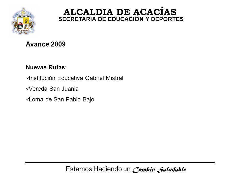 Estamos Haciendo un Cambio Saludable ALCALDIA DE ACACÍAS SECRETARIA DE EDUCACIÓN Y DEPORTES Avance 2009 Nuevas Rutas: Institución Educativa Gabriel Mistral Vereda San Juania Loma de San Pablo Bajo