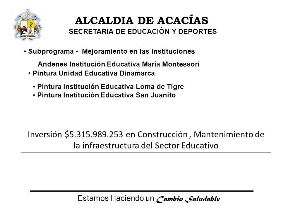 Estamos Haciendo un Cambio Saludable ALCALDIA DE ACACÍAS SECRETARIA DE EDUCACIÓN Y DEPORTES Avance 2009 Adicionales proyectos en ejecución del año 2008 Construcción y mejoramiento de la Institución Educativa San Isidro de Chichimene sede primaria (Valor $76.450.000) Diseño y construcción campo deportivo y estabilización del talud de la Escuela Vereda el Libano (Valor $79.640.000) Construcción Nueva Normal (Valor $450.000.000) Mejoramiento y pintura Colegio Pablo Emilio Riveros ($100.000.000) Unidad sanitaria, cerramiento y mejoramiento de la Institución Educativa Santa Teresita sede el Resguardo ($84.000.000) Construcción Cubierta, placa y graderías del polideportivo Juan Humberto Baquero sede el Carmen ($18.750.000) Concesión unidad sanitaria y mejoramiento del auditorio Colegio Departamental Agropecuario ($70.000.000).