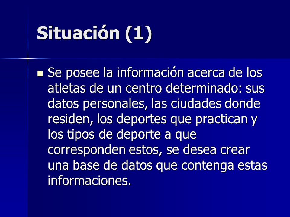 Situación (1) Se posee la información acerca de los atletas de un centro determinado: sus datos personales, las ciudades donde residen, los deportes q
