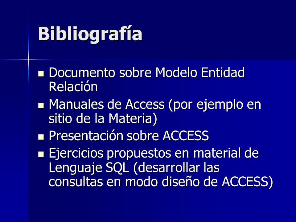 Bibliografía Documento sobre Modelo Entidad Relación Documento sobre Modelo Entidad Relación Manuales de Access (por ejemplo en sitio de la Materia) M