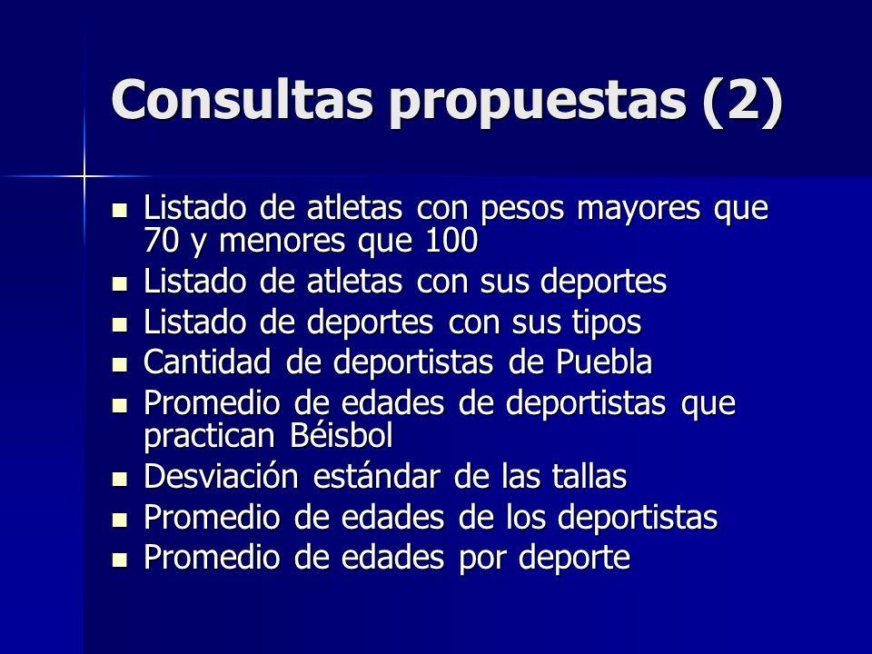 Consultas propuestas (2) Listado de atletas con pesos mayores que 70 y menores que 100 Listado de atletas con pesos mayores que 70 y menores que 100 L