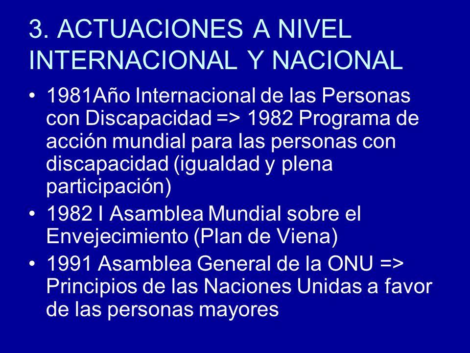 3. ACTUACIONES A NIVEL INTERNACIONAL Y NACIONAL 1981Año Internacional de las Personas con Discapacidad => 1982 Programa de acción mundial para las per