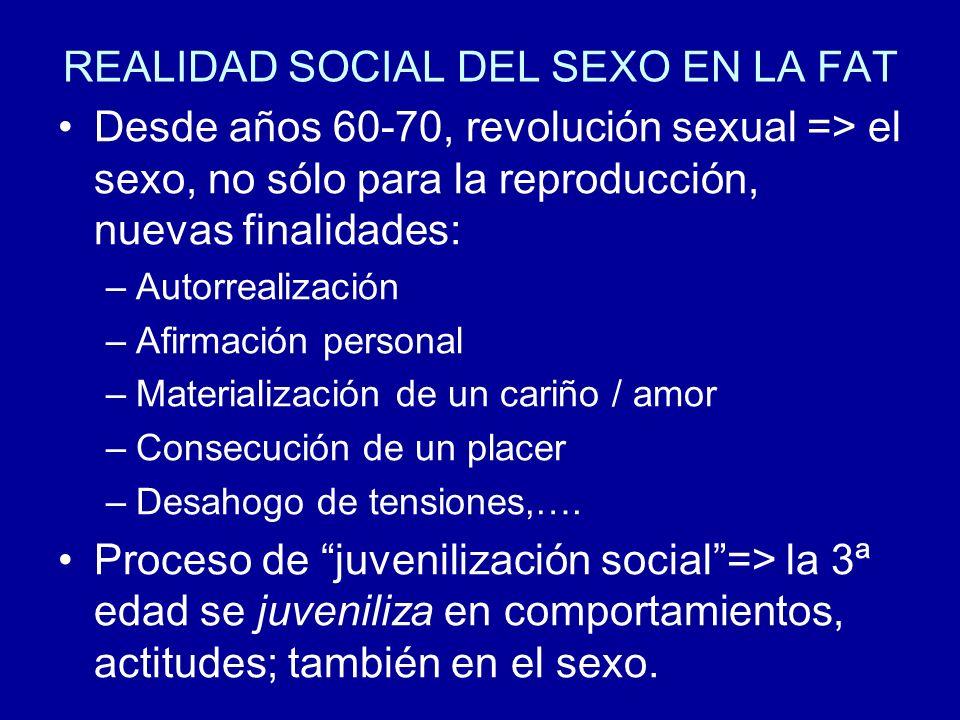 REALIDAD SOCIAL DEL SEXO EN LA FAT Desde años 60-70, revolución sexual => el sexo, no sólo para la reproducción, nuevas finalidades: –Autorrealización