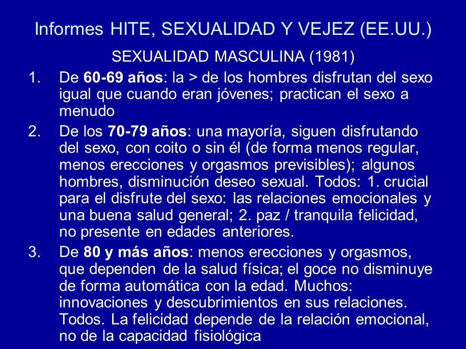 Informes HITE, SEXUALIDAD Y VEJEZ (EE.UU.) SEXUALIDAD MASCULINA (1981) 1.De 60-69 años: la > de los hombres disfrutan del sexo igual que cuando eran j