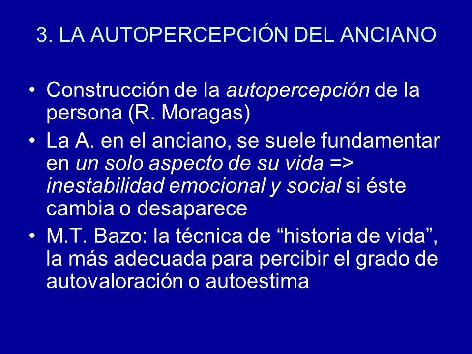 3. LA AUTOPERCEPCIÓN DEL ANCIANO Construcción de la autopercepción de la persona (R. Moragas) La A. en el anciano, se suele fundamentar en un solo asp