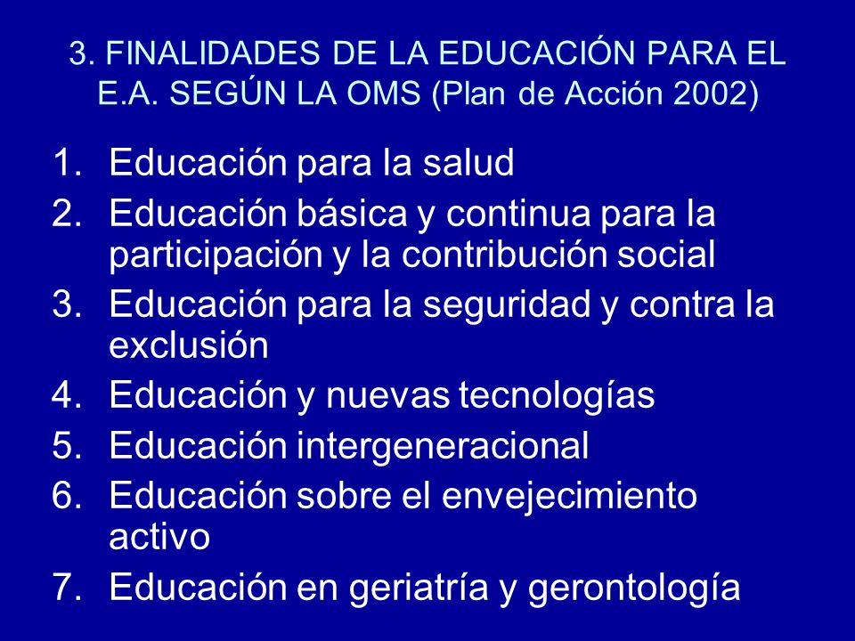 3. FINALIDADES DE LA EDUCACIÓN PARA EL E.A. SEGÚN LA OMS (Plan de Acción 2002) 1.Educación para la salud 2.Educación básica y continua para la partici