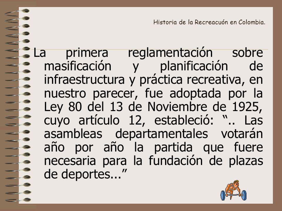 Historia de la Recreacuón en Colombia. La primera reglamentación sobre masificación y planificación de infraestructura y práctica recreativa, en nuest