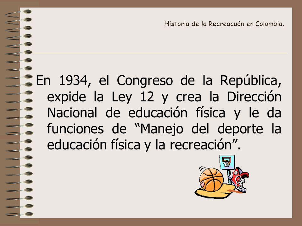 Historia de la Recreacuón en Colombia. En 1934, el Congreso de la República, expide la Ley 12 y crea la Dirección Nacional de educación física y le da