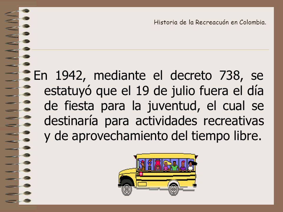 Historia de la Recreacuón en Colombia. En 1942, mediante el decreto 738, se estatuyó que el 19 de julio fuera el día de fiesta para la juventud, el cu