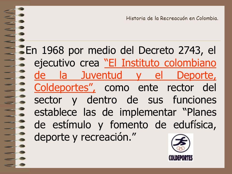 Historia de la Recreacuón en Colombia. En 1968 por medio del Decreto 2743, el ejecutivo crea El Instituto colombiano de la Juventud y el Deporte, Cold