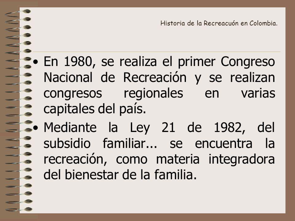 Historia de la Recreacuón en Colombia. En 1980, se realiza el primer Congreso Nacional de Recreación y se realizan congresos regionales en varias capi
