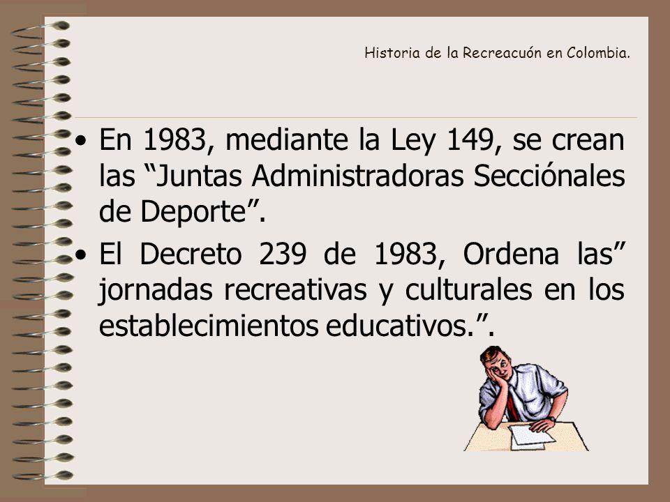 Historia de la Recreacuón en Colombia. En 1983, mediante la Ley 149, se crean las Juntas Administradoras Secciónales de Deporte. El Decreto 239 de 198
