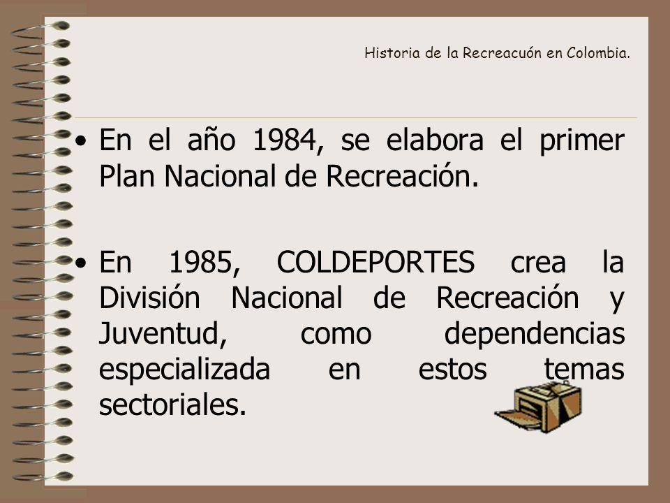 Historia de la Recreacuón en Colombia. En el año 1984, se elabora el primer Plan Nacional de Recreación. En 1985, COLDEPORTES crea la División Naciona