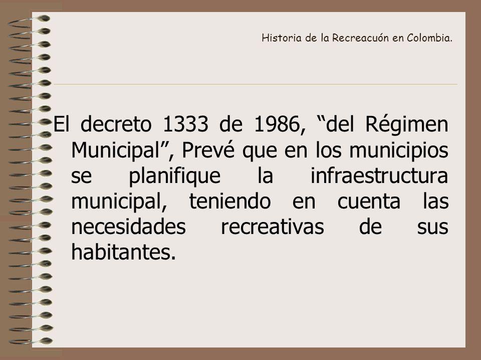 Historia de la Recreacuón en Colombia. El decreto 1333 de 1986, del Régimen Municipal, Prevé que en los municipios se planifique la infraestructura mu
