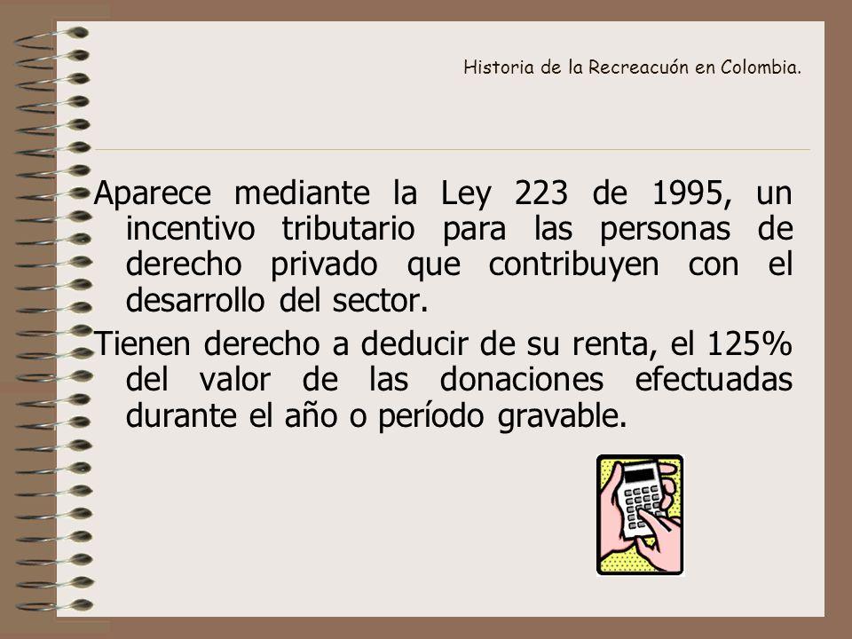 Historia de la Recreacuón en Colombia. Aparece mediante la Ley 223 de 1995, un incentivo tributario para las personas de derecho privado que contribuy