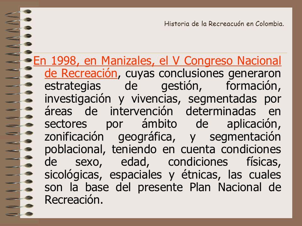 Historia de la Recreacuón en Colombia. En 1998, en Manizales, el V Congreso Nacional de Recreación, cuyas conclusiones generaron estrategias de gestió