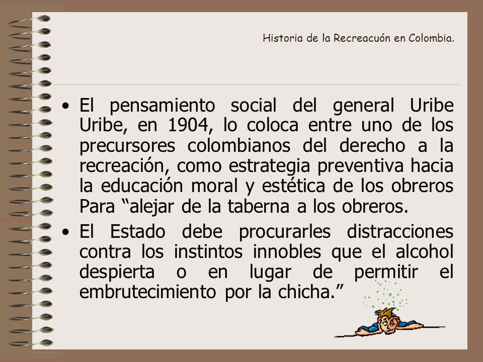 Historia de la Recreacuón en Colombia. El pensamiento social del general Uribe Uribe, en 1904, lo coloca entre uno de los precursores colombianos del