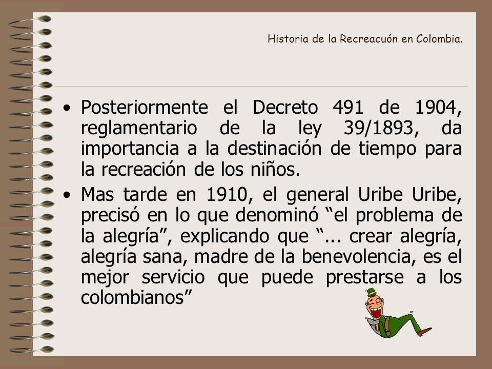 Historia de la Recreacuón en Colombia. Posteriormente el Decreto 491 de 1904, reglamentario de la ley 39/1893, da importancia a la destinación de tiem