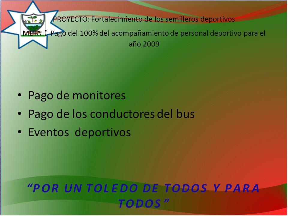 PROYECTO: Fortalecimiento de los semilleros deportivos META : Pago del 100% del acompañamiento de personal deportivo para el año 2009 Pago de monitores Pago de los conductores del bus Eventos deportivos