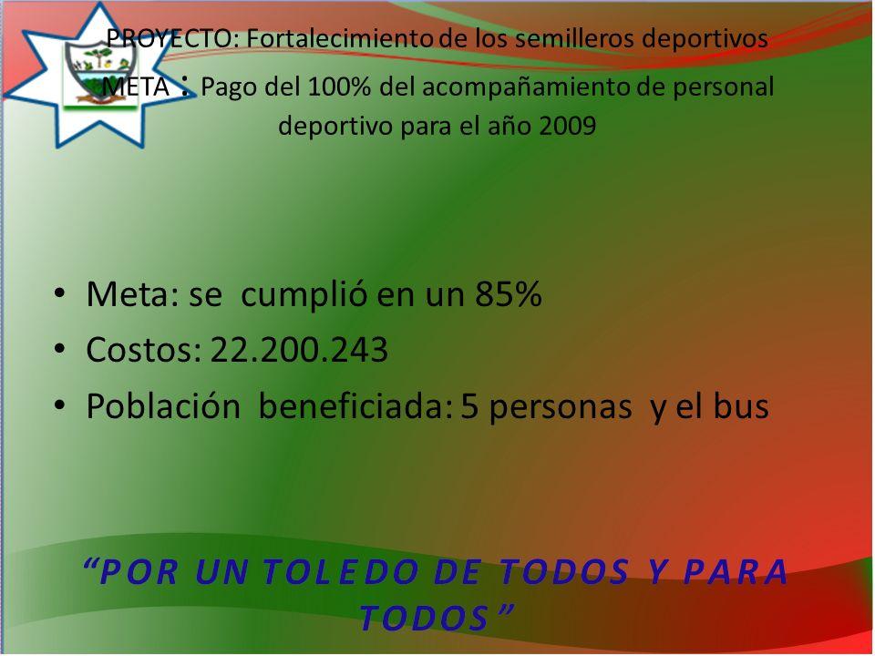 PROYECTO: Fortalecimiento de los semilleros deportivos META : Pago del 100% del acompañamiento de personal deportivo para el año 2009 Meta: se cumplió en un 85% Costos: 22.200.243 Población beneficiada: 5 personas y el bus