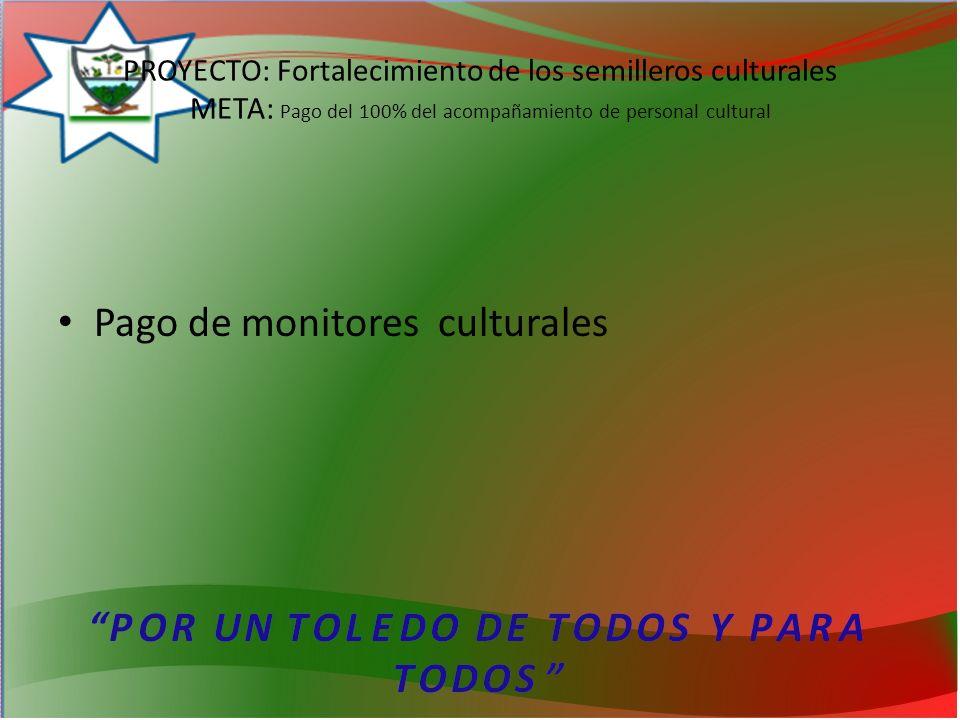 PROYECTO: Fortalecimiento de los semilleros culturales META: Pago del 100% del acompañamiento de personal cultural Pago de monitores culturales