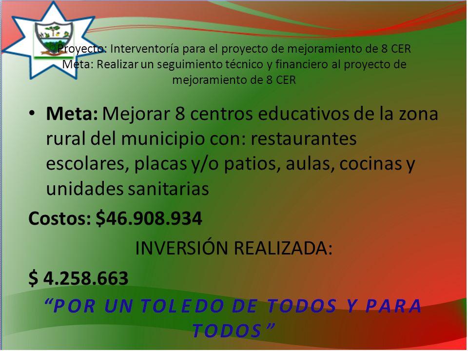 Meta: Mejorar 8 centros educativos de la zona rural del municipio con: restaurantes escolares, placas y/o patios, aulas, cocinas y unidades sanitarias Costos: $46.908.934 INVERSIÓN REALIZADA: $ 4.258.663