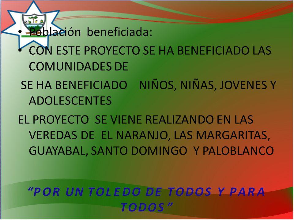 Población beneficiada: CON ESTE PROYECTO SE HA BENEFICIADO LAS COMUNIDADES DE SE HA BENEFICIADO NIÑOS, NIÑAS, JOVENES Y ADOLESCENTES EL PROYECTO SE VIENE REALIZANDO EN LAS VEREDAS DE EL NARANJO, LAS MARGARITAS, GUAYABAL, SANTO DOMINGO Y PALOBLANCO