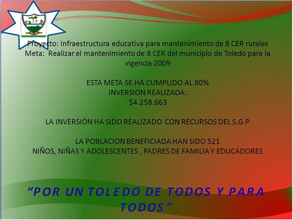 Proyecto: Infraestructura educativa para mantenimiento de 8 CER rurales Meta: Realizar el mantenimiento de 8 CER del municipio de Toledo para la vigencia 2009 ESTA META SE HA CUMPLIDO AL 80% INVERSION REALIZADA: $4.258.663 LA INVERSIÓN HA SIDO REALIZADO CON RECURSOS DEL S.G.P LA POBLACION BENEFICIADA HAN SIDO 521 NIÑOS, NIÑAS Y ADOLESCENTES, PADRES DE FAMILIA Y EDUCADORES