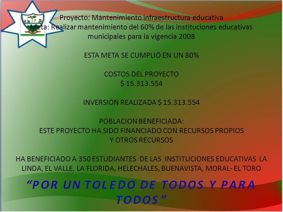 Proyecto: Mantenimiento infraestructura educativa Meta: Realizar mantenimiento del 60% de las instituciones educativas municipales para la vigencia 2008 ESTA META SE CUMPLIÓ EN UN 80% COSTOS DEL PROYECTO $ 15.313.554 INVERSIÓN REALIZADA $ 15.313.554 POBLACION BENEFICIADA: ESTE PROYECTO HA SIDO FINANCIADO CON RECURSOS PROPIOS Y OTROS RECURSOS HA BENEFICIADO A 350 ESTUDIANTES DE LAS INSTITUCIONES EDUCATIVAS LA LINDA, EL VALLE, LA FLORIDA, HELECHALES, BUENAVISTA, MORAL- EL TORO