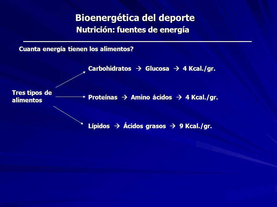 Bioenergética del deporte Nutrición: fuentes de energía Cuanta energía tienen los alimentos? Carbohidratos Glucosa 4 Kcal./gr. Proteínas Amino ácidos