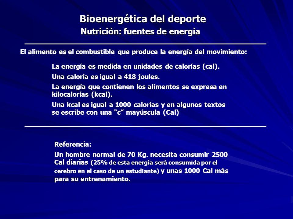 Bioenergética del deporte Nutrición: fuentes de energía Cuanta energía tienen los alimentos.