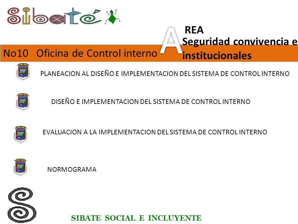 SIBATE SOCIAL E INCLUYENTE No10 Oficina de Control interno Seguridad convivencia e institucionales REA PLANEACION AL DISEÑO E IMPLEMENTACION DEL SISTEMA DE CONTROL INTERNO DISEÑO E IMPLEMENTACION DEL SISTEMA DE CONTROL INTERNO EVALUACION A LA IMPLEMENTACION DEL SISTEMA DE CONTROL INTERNO NORMOGRAMA