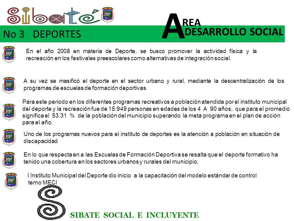 SIBATE SOCIAL E INCLUYENTE No 3 DEPORTES DESARROLLO SOCIAL REA A En el año 2008 en materia de Deporte, se busco promover la actividad física y la recreación en los festivales preescolares como alternativas de integración social.